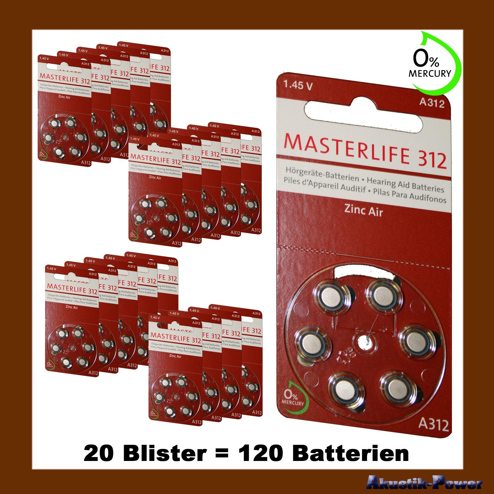 akustik power 120 st ck masterlife h rger te batterie typ 312 pr41 braun a312 mercury free. Black Bedroom Furniture Sets. Home Design Ideas