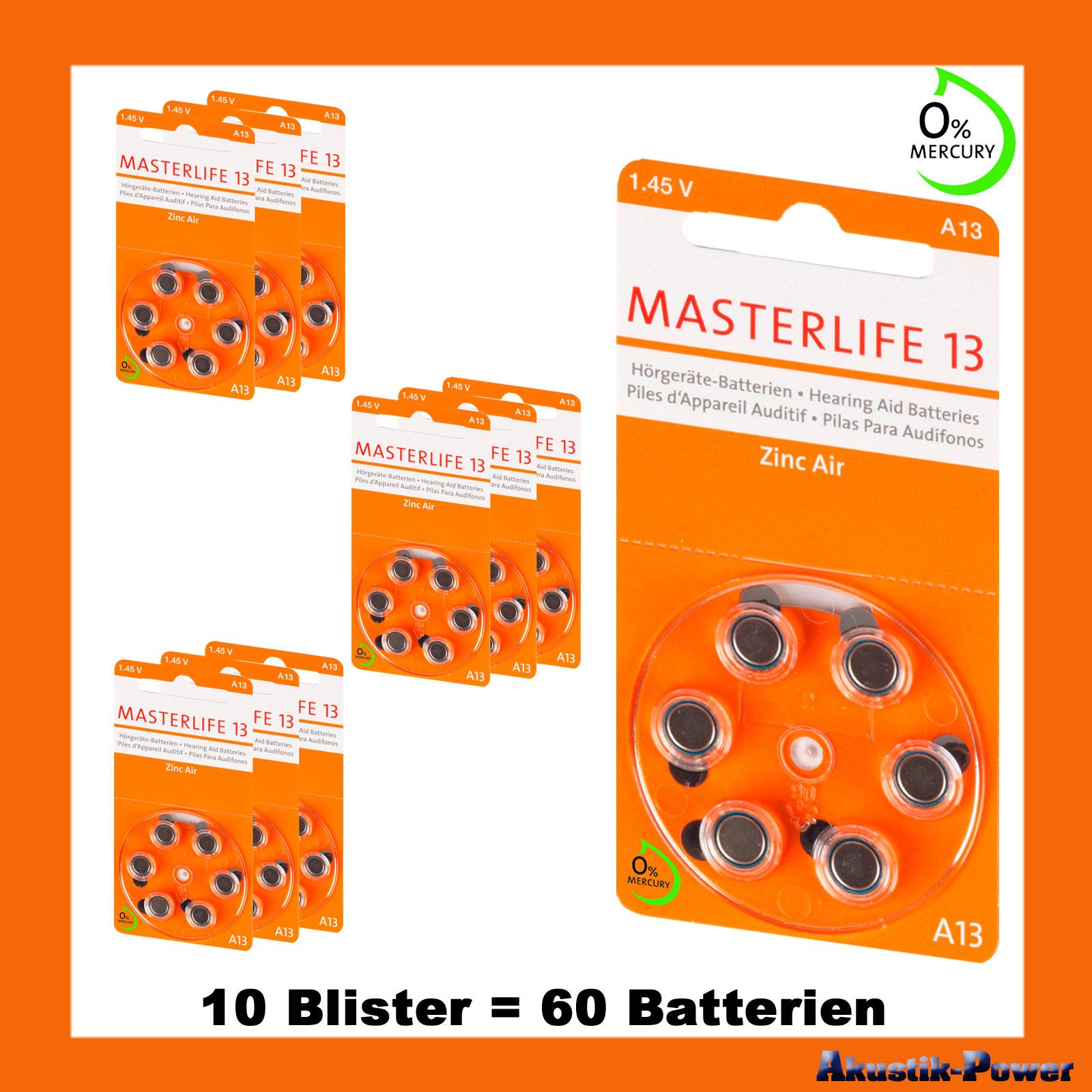akustik power 60 st ck masterlife h rger te batterie typ 13 pr48 orange a13 mercury free. Black Bedroom Furniture Sets. Home Design Ideas