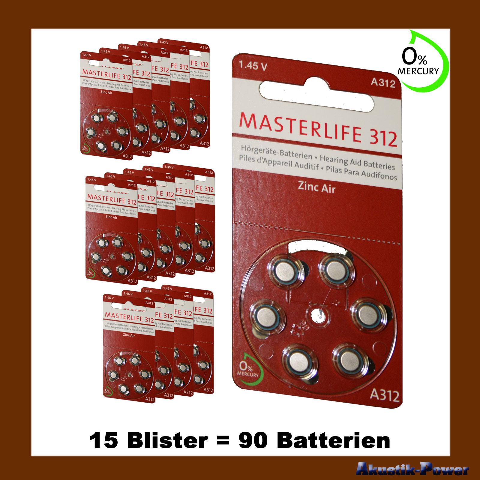 akustik power 90 st ck masterlife h rger te batterie typ 312 pr41 braun a312 mercury free. Black Bedroom Furniture Sets. Home Design Ideas